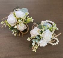 wedding photo - Boho rose corsage with pearl wristlet, wrist corsage, pin on corsage, mother of the bride or groom flowers