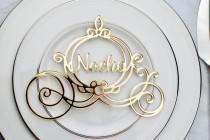 wedding photo - Cinderella Carriage Name Place Card, Disney Wedding Favor