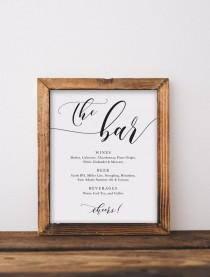 wedding photo - The Bar Drinks Menu Sign, Wine List, Modern Script, Party Decor, 100% Editable Text, Printable Template, Instant Download 5x7, 8x10, T001