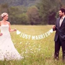 wedding photo - JUST MARRIED banner