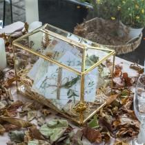 wedding photo - Standard Large Geometric Glass Card Box Terrarium with Slot, Heart Lock, Foot, Gold Handmade Brass for Wedding Receiption Wishwell Keepsake