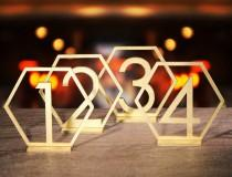 wedding photo - Table Numbers Hexagon table numbers Wedding Table Numbers Gold table numbers Table decoration Numbers with base Wood table numbers
