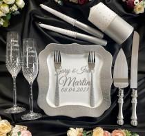 wedding photo - Wedding serving set Unity candles set  gray wedding glasses and cake cutting set Wedding toasting flutes
