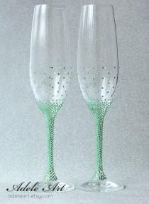 wedding photo - Green rginestones Pesronalized Champagne Wedding Flutes, Set of 2, Wedding glasses, toasting flutes personalized, Swarovski Crystals