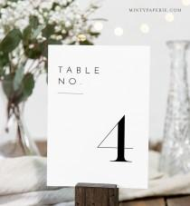 wedding photo - Minimalist Table Number Card Template, Rustic Simple Clean Wedding Table Number, Editable, INSTANT DOWNLOAD, Templett, DIY 4x6 #094-168TC