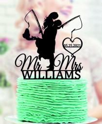 wedding photo - Fishing Wedding Cake Topper, Bride and Groom with fishing rod, Mr and Mrs Cake Topper, Personalized Cake Topper Wedding,  Hooked for Life