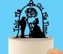 wedding photo - Beauty and the Beast Wedding Cake Topper, wedding cake topper, Enchanted Rose, Wedding Cake Topper