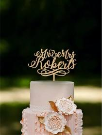 wedding photo - Wedding Cake Topper Mr and Mrs Cake Topper With Surname Heart Topper Gold cake topper Silver cake topper