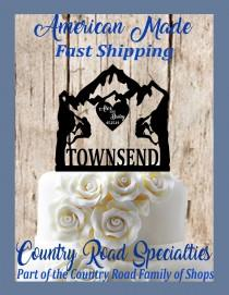 wedding photo - Rock Climbing Couple - Personalized Wedding Cake Topper - First Names - Last Name - Event Date - Mountain Wedding - Adventure Awaits