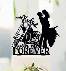 wedding photo - Ride with me forever, Couple on Harley Davidson, Harley Davidson Topper, Bride and Groom with motorbike, Biker Couple, Harley Davidson #229