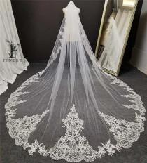 wedding photo - White, Ivory Cathedral Wedding Veil, Lace Wedding Veil, Royal Veil, Lace Applique Veil, Lace Edge Veil, Lace Border, Regal