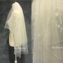 wedding photo - Beaded veil,Wedding veil,Bridal veil,Floral veil,Blusher veil,ivory veil,Bridal gift,Crystal veil,Fingertip veil,2tiers Veil,Comb veil