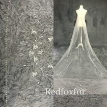 wedding photo - Beaded Wedding veil,Cathedral Veil,Bridal Veil,Crystal veil,Sequins veil,Ivory veil,Pearl veil,1 Tiers Veil,Blusher veil,Long veil,No comb