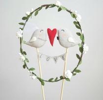 wedding photo - Full of Love Bride and Groom Birds Wedding Cake Topper - Wedding Birds Cake Topper With Garland Love - Birds Cake Topper with Wreath