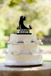 wedding photo - Wedding cake topper,Personalized wedding cake topper,Cake topper wedding,Custom wedding cake topper,Wedding topper,Cake topper with dog