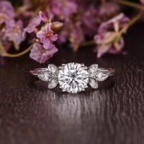 wedding photo - Engagement Ring Moissanite Engagement Flower Unique Art Deco Ring Cluster White Gold Wedding Ring Solitaire Leafy Double Claw Prongs 6.5mm