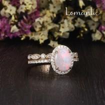 wedding photo - Natural Australian White Opal Bridal Set 2pcs Art Deco Ring Gold Ring Opal Engagement Ring Diamond Moissanite Halo Birthstone Ring Stacking