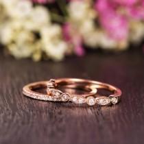 wedding photo - Wedding Band Women Antique Ring Set Rose Gold Art Deco Diamond Wedding Ring Half Eternity Retro Stacking Anniversary Promise Milgrain 2pcs