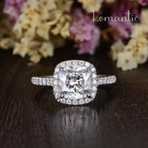 wedding photo - 2ct Moissanite Engagement Ring Cushion Cut Moissanite Halo Ring Unique White Gold Wedding Ring Woman Antique Classic Ring Anniversary Gift