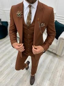 wedding photo - Men Suits Tile 3 Piece Slim Fit One Button Wedding Groom Party Wear Coat Pant, Plus Size Tile Suit, Men Tile Suit, Tile Slim Fit Suit