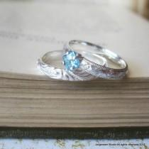 wedding photo - Promise Ring Square Princess Cut Blue Topaz Engagement Ring or Stacking Ring Blue Gemstone Solitaire Ring