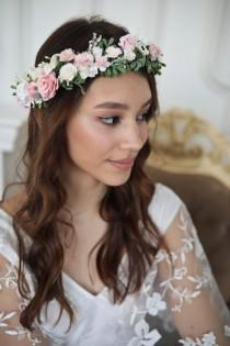 wedding photo - Flower Crown for Romantic Bride Hairstyle. White & Pink Flowers Boho Wreath. Wedding flower hair piece from rose, greenery. Bridal Accessory