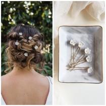wedding photo - Boho Wedding Hair Accessories, Gold Floral Hair Pin, Bridal Hair Piece,  Bridesmaid Hair Pin, Wedding hair Accessory, Hair Vine, Tiny Flower