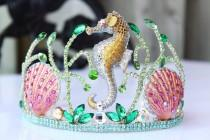 wedding photo - Mermaid Crown Seashell Crown Bridal headpiece Seahorse Shell Crown Beach Tiara Wedding Dress Bridal Crown Under the sea headpiece
