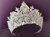 wedding photo - Bridal Tiara, Crown, Swarovski Crystal Diadem Wedding Diadem for Bride, Silver Crystal Tiara, Zircon Crown, Royal Tiara Hair Accessories