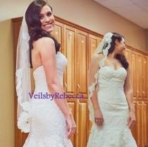 wedding photo - 1 Tier Lace fingertip veil, Short fingertip lace wedding veil, lace veil fingertip-1 short French Alencon lace bridal veil V647
