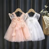 wedding photo - Butterfly wings Girls tulle lace Dress Princess flower Clothing Summer Party tutu Kids Dresses for Girls wedding Birthday 3-12 Years