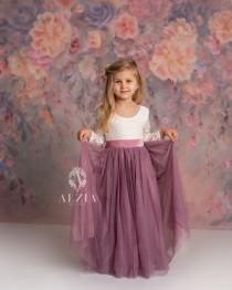 wedding photo - Mauve, Dusty Mauve, Purple Mauve Tulle Lace Top Scalloped Edges Back Party Flower Girl Dress
