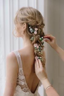 wedding photo - Bridal hair vine, bridal hair vine green, Blush Flower Hair comb, flower hair clip, bridal hair piece