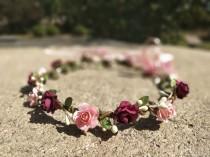 wedding photo - Burgundy & Blush Pink Flower Crown Flower girl headband Flower girl crown Wedding flower crown Bridal Child  Baby Toddler flower crown Halo