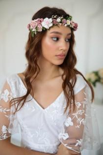 wedding photo - Flower crown, Dusty rose flower crown, Wedding flower crown, Bridal flower crown, Bridesmaids crown, Flower crown for girls