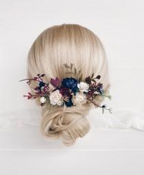 wedding photo - Flower hair comb, Bridal hair accessories, Wedding flower hair clip, Burgundy flower hair comb, Wedding flower hair accessories