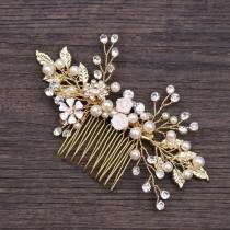 wedding photo - ANABEL Swarovski Crystal Hair Comb Gold Flower Pearls Bridal Haircomb Hair Comb, Vintage Veil Flower Bridal Haircomb, Flower 1920s Headpiece