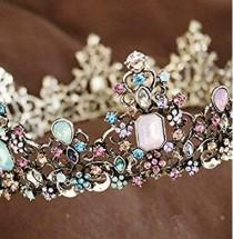wedding photo - Multicoloured jewelled crown tiara