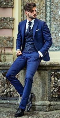 wedding photo - Men Blue Suits Slim fit Summer Suit Party Wear 3 Piece Suit, Business Suit, One Button Bespoke