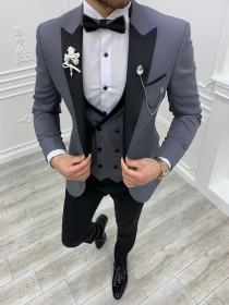 wedding photo - Men Suits ~ Wedding Suit ~ 3 Piece Suits ~ Prom Suits, Slim fit Peak Lapel one Button Tuxedo, Gray Slim Fit Peak Lapel Tuxedo