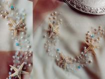 wedding photo - moonstone strafish hair piece,white opal beach wedding hair accessories,blue opal hair vine,sea star headband head pieces for wedding