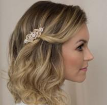 wedding photo - Vintage Flower Hair Comb Art Deco Hair Comb Vintage Deco Rhinestone Vintage Wedding Hair Comb Gold Hair Comb Pearl and Gold Hairpiece Bridal