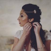 wedding photo - Rose Gold Headpiece, Chain headpiece, Front Bridal Hair Chain, Rose Gold Hair Comb, Boho Wedding, Forehead Headpiece, Rose gold wedding