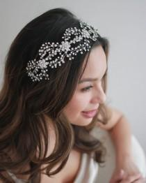 wedding photo - Crystal Wedding Headband, Floral Bridal Headband, Wedding Headpiece, Bridal Hair Piece, Bridal Hair Accessories,Silver Bridal Headband ~3228
