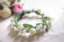 wedding photo - Dried Baby's Breath, Silk Daisy and Eucalyptus Wedding Crown with small white roses