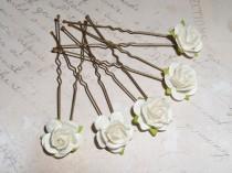 wedding photo - Ivory White Rose Hair Pins*Hair Flowers*Brides Wedding Hair Accessories*Bridal Accessories*Prom*Boho Festival*Bridesmaid Hair