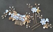 wedding photo - 3pcs Set Bridal Hair piece comb something Blue Flower floral leaf bridesmaid mother of Bride Hair Jewelry headpiece clip Beach Wedding gift