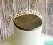 "wedding photo - Fast Ship - 1"" Gold Tiara, Gold Crystal Tiara, Gold Headband, Gold Tiaras, Gold Rhinestone Tiaras, Wedding Gold Crowns, Sweet 16 Crowns"