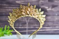 wedding photo - Delicate wedding tiara of golden leaves, tiara of bride from leaves