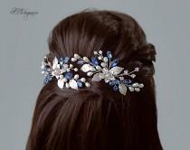 wedding photo - Blue Bridal Hair Pin, Navy Blue Hair Piece, Silver Wedding Hair Pin Set, Sapphire Hair Accessory, Something Blue Jewelry, Royal Blue Wedding